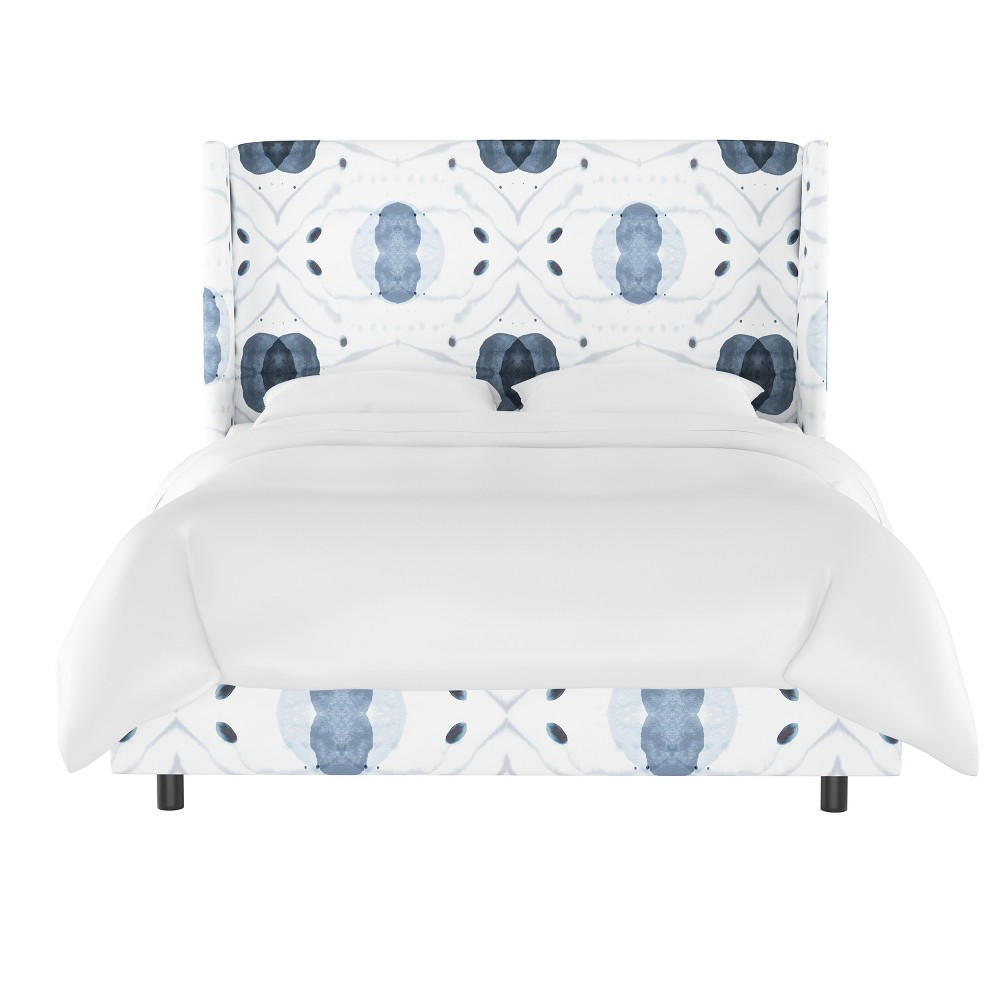 Image of Laura Wingback Bed King Delray Blue - Cloth & Co.