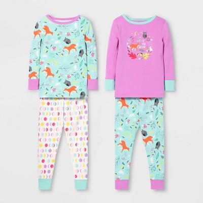 Toddler Girls' 4pc Fox Pajama Set   Cat & Jack™ Violet/Blue by Cat & Jack