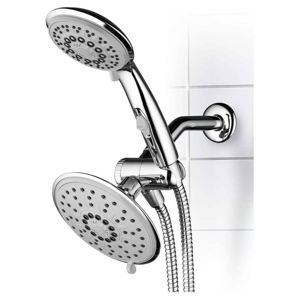 Dual Shower Head Ultra - Luxury Rainfall Shower System Chrome (Grey) - Hydroluxe