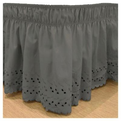 Black Wrap Around Eyelet Ruffled Bed Skirt (Queen/King)-EasyFit™