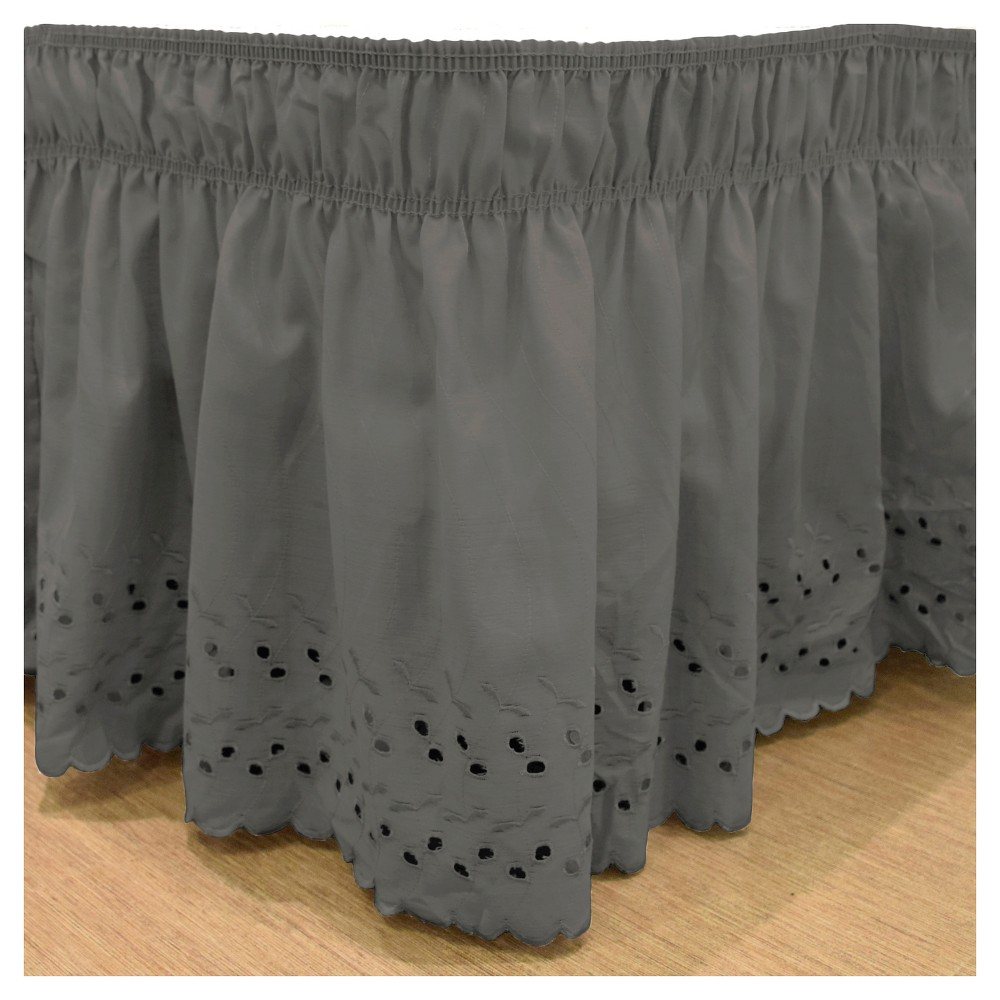 "Image of ""Black Wrap Around Eyelet Ruffled Bed Skirt (Queen/King) (80""""X60"""") -EasyFit"""
