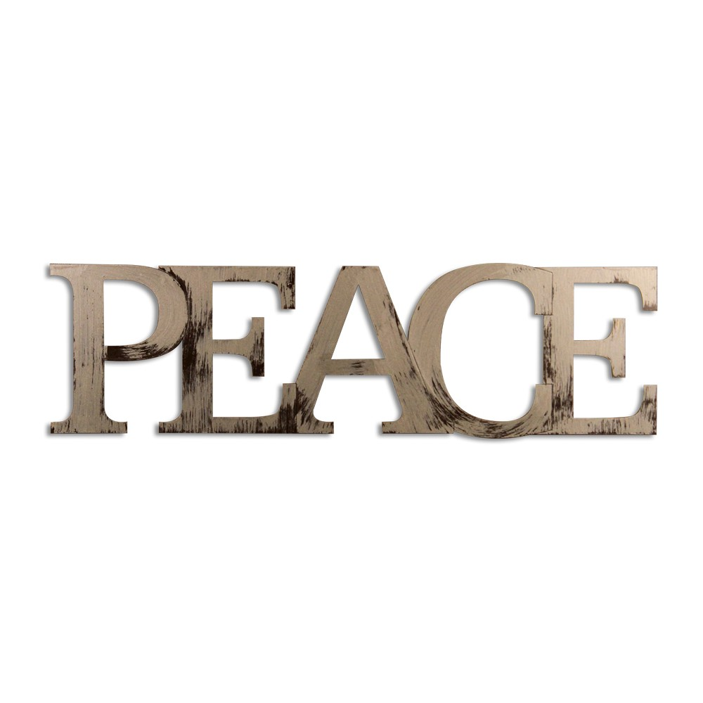 Letter2Word Hand Painted Peace 3D Wall Sculpture, Pharoah Gold