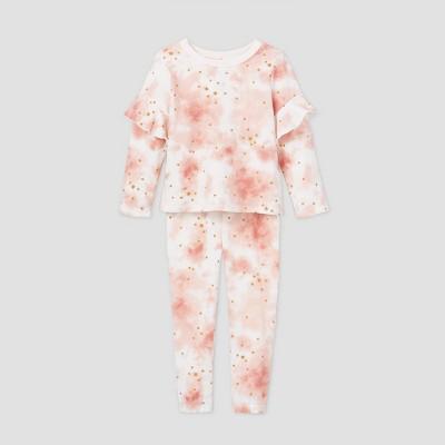 Toddler Girls' Tie-Dye Crew Sweatshirt and Joggers Set - art class™ Pink 12M