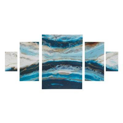 (Set of 5) Midnight Tide Gel Coat Canvas Decorative Wall Art Set Blue