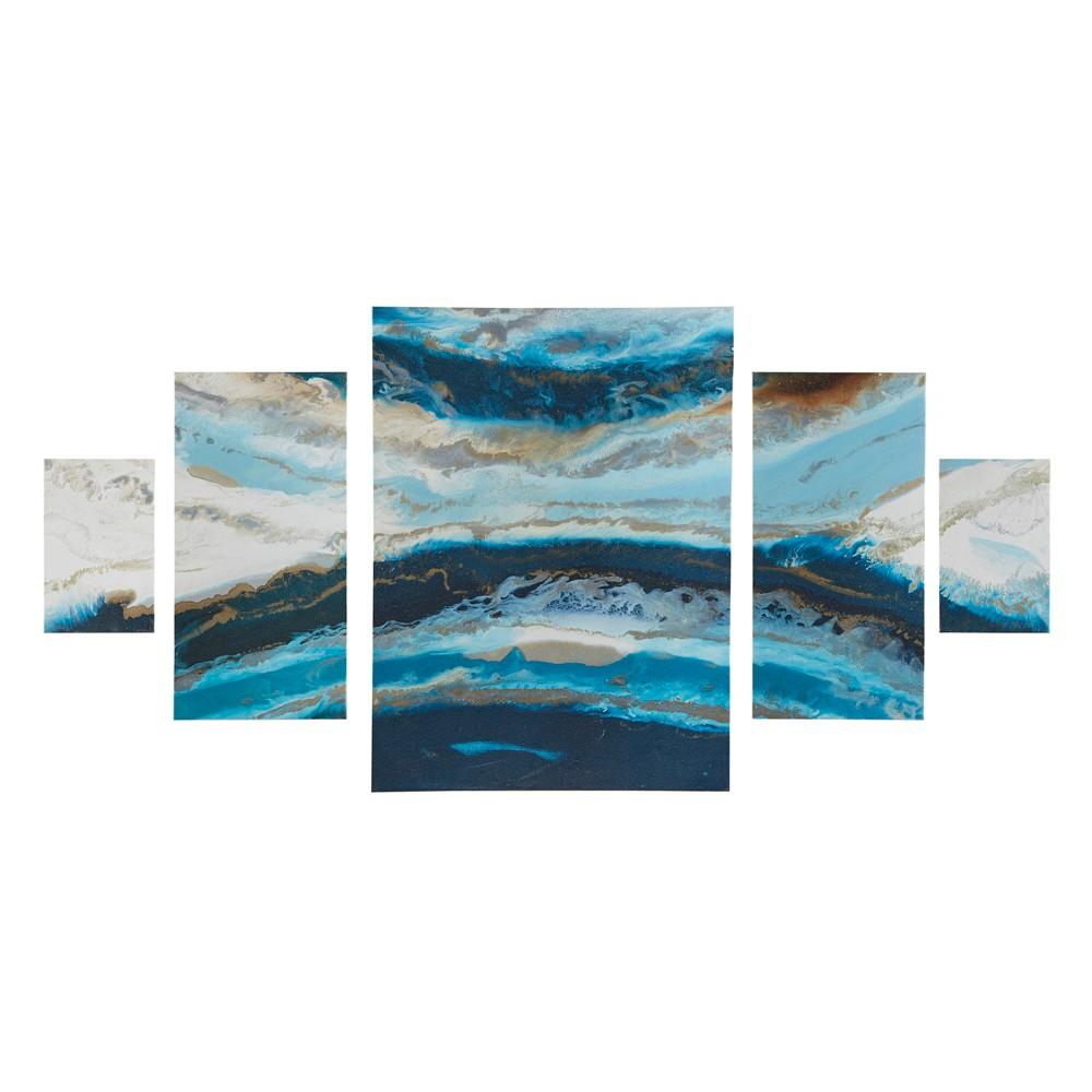 Midnight Tide Gel Coat Canvas 5pc Decorative Wall Art Set Blue