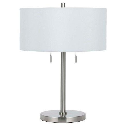 Cal Lighting Calais Brushed Steel Finish Metal Table Lamp With 2 Bulb Sockets Only