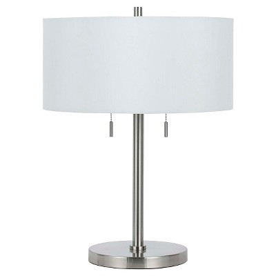Cal Lighting Calais Brushed Steel Finish Metal Table Lamp With 2 Bulb  Sockets