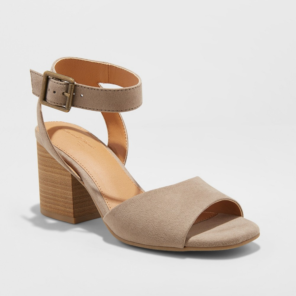 Women's Megan Microsuede Quarter Strap Heeled Pump Sandals - Universal Thread Taupe (Brown) 10
