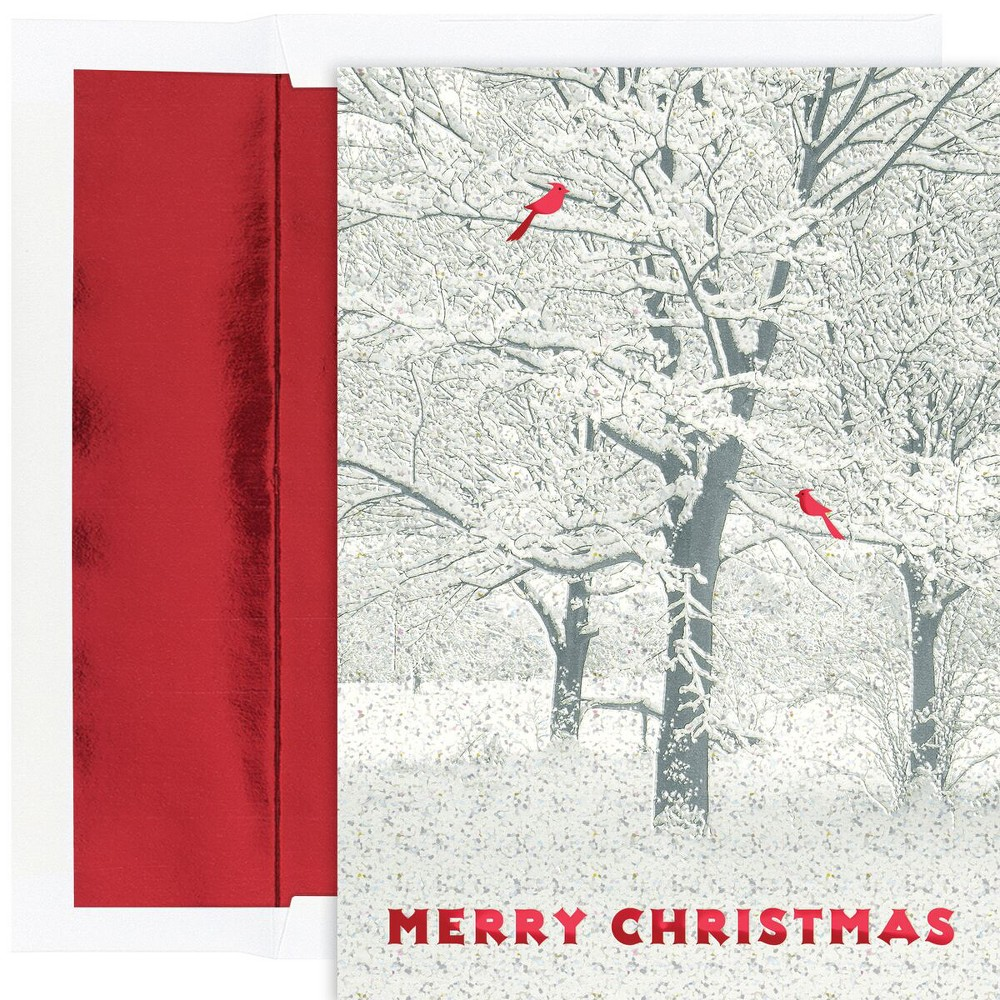 16ct Snowy Trees Cards Red - Canopy Street