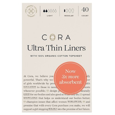 Cora Organic Cotton Ultra Thin Liners for Periods - 40 ct