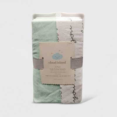 Crib Fitted Sheets I Love You and Mint Solid - Cloud Island™ Gray/Mint 2pk