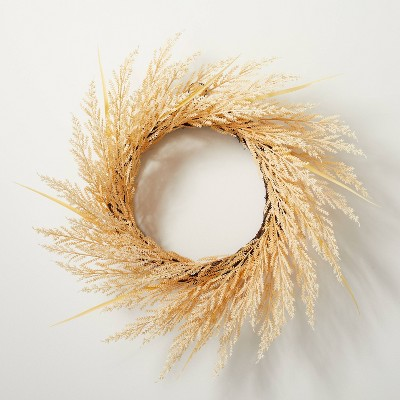 """24"""" Faux Bleached Wheat Grass Plant Wreath - Hearth & Hand™ with Magnolia"""