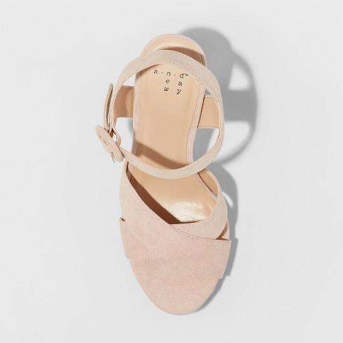 893aa36bbe7b Women s Fiona Glitter Satin Crossband Platform Quarter Strap Sandal - A New  Day™ Rose Gold 12   Target