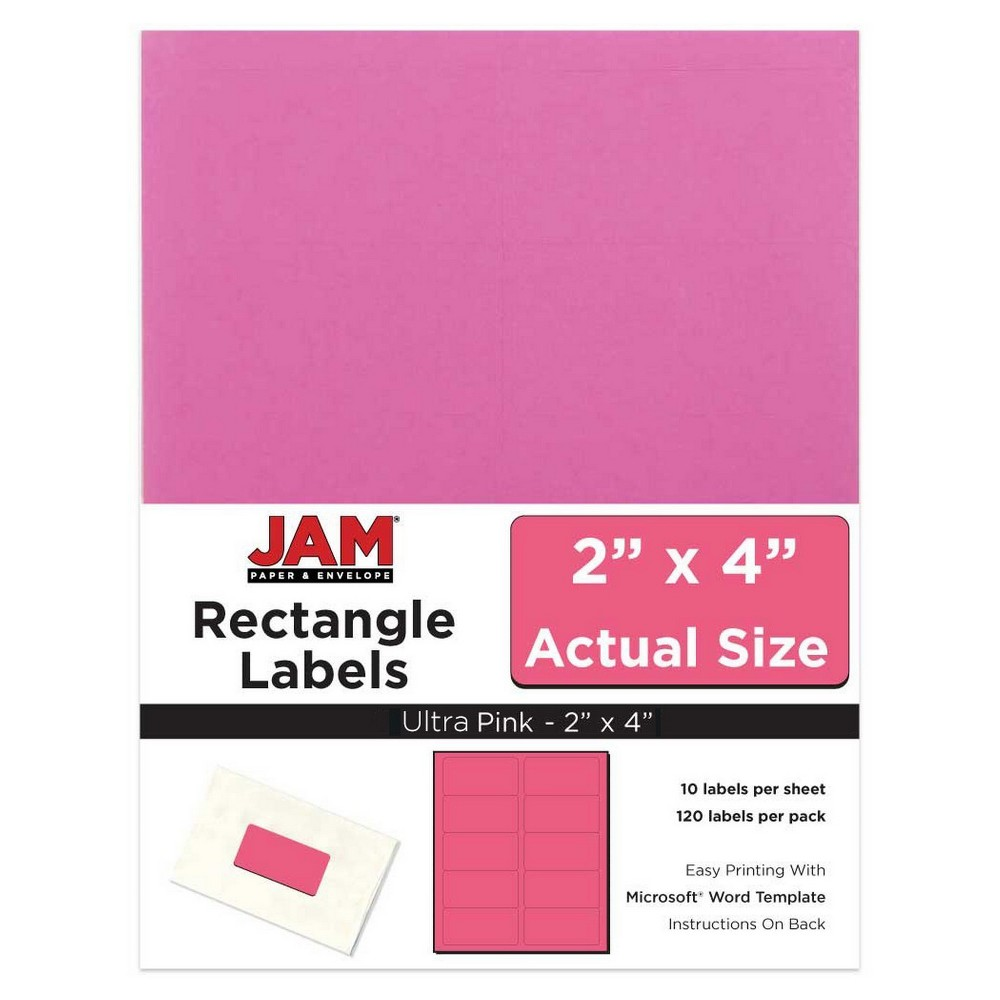 """Image of """"JAM Paper Mailing Labels 2"""""""" X 4"""""""" 120ct - Pink"""""""