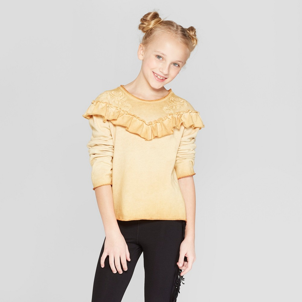 Girls' Embroidered Pullover - art class Gold L, Yellow
