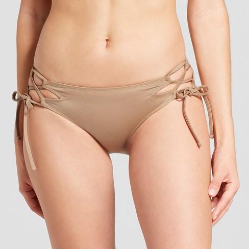 4e83f07e3b Women's Sun Coast Cheeky Lace-Up Bikini Bottom - Shade & Shore™ Gold  Champagne XL : Target