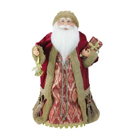 """Northlight 18"""" Gold and Burgundy Red Santa Claus Holding a Gift Box Tree Topper - Unlit - image 1 of 3"""