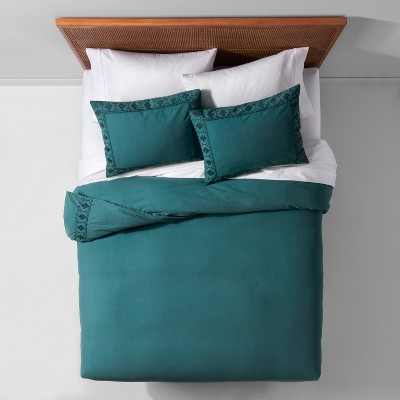Teal Garment Washed Tribal Border Duvet Cover Set (Full/Queen)- Opalhouse™