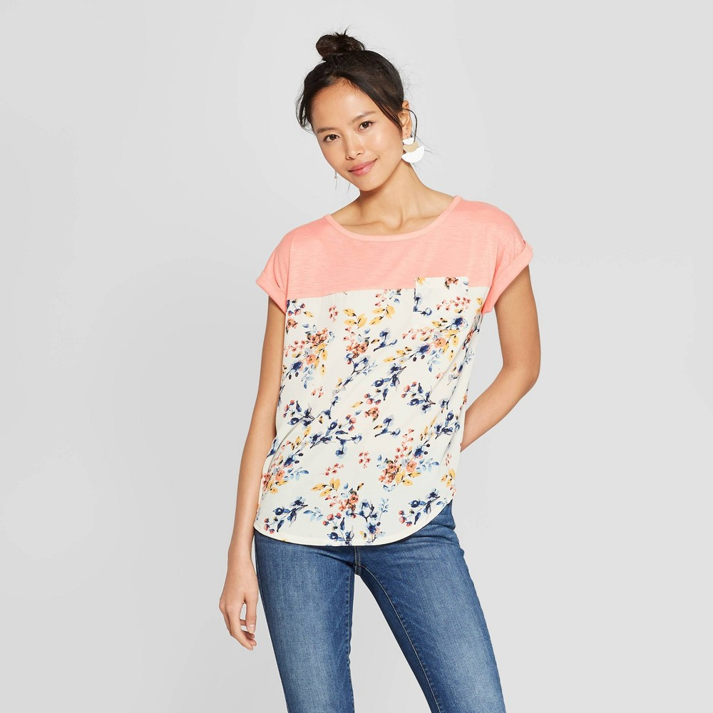 Women's Floral Print Short Sleeve Crewneck T-Shirt - Xhilaration Navy L, Pink