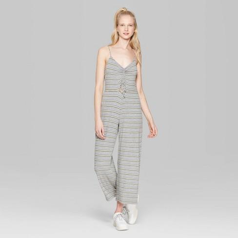 75d5b7e159a Women s Striped Strappy V-Neck Cutout Knit Jumpsuit - Wild Fable™ Gray