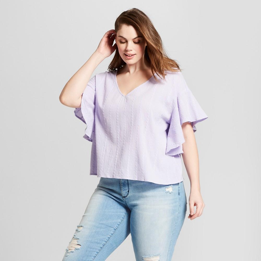 Women's Plus Size Ruffle Sleeve Top - Universal Thread Purple X