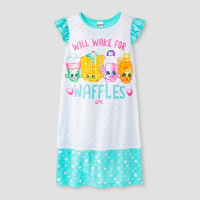 Girls' Shopkins 'Will Wake For Waffles' Graphic Nightgown - White/Blue M