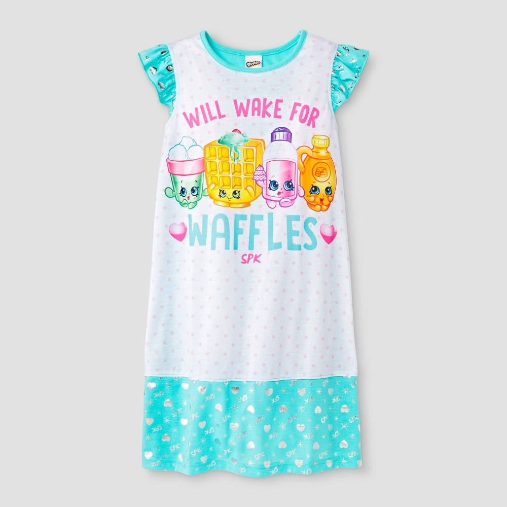 Girls' Shopkins 'Will Wake For Waffles' Graphic Nightgown - White/Blue S