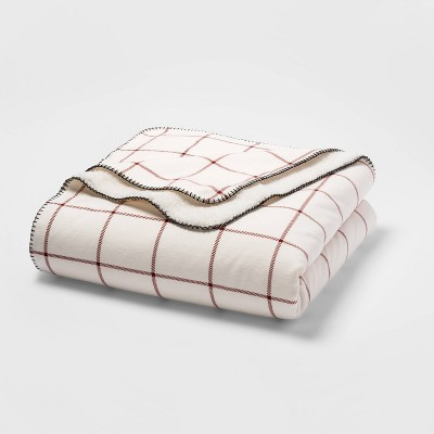 Full/Queen Printed Pattern Flannel & Sherpa Bed Blanket Red Windowpane - Threshold™