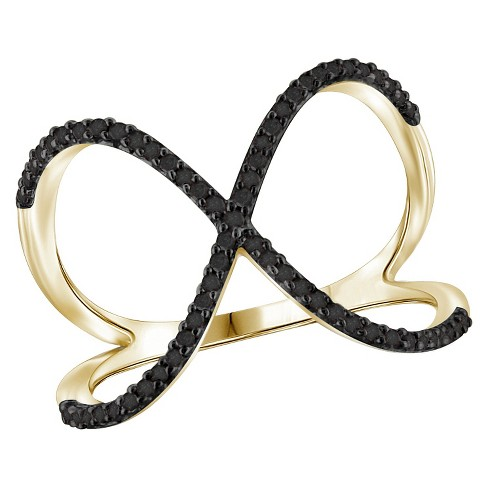 1/7 CT. T.W. Round-Cut Black Diamond Prong Set Geometric Ring in Gold Over Silver - image 1 of 2