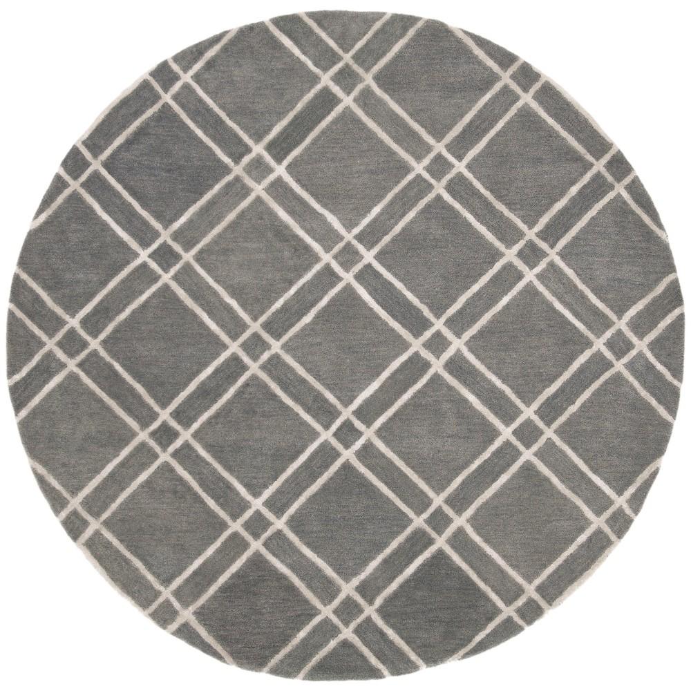 6 Crosshatch Tufted Round Area Rug Dark Gray Ivory Safavieh
