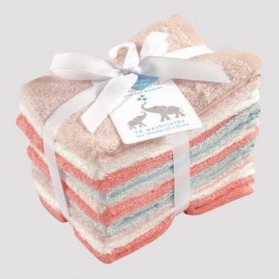 Hudson Baby Girls' 10pk Washcloth Set - Coral/Mint 0-24M