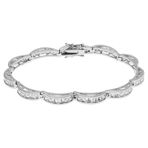 5 2/5 CT. T.W. Square-cut CZ Link Channel Set Bracelet in Base Metal - Silver - image 1 of 2