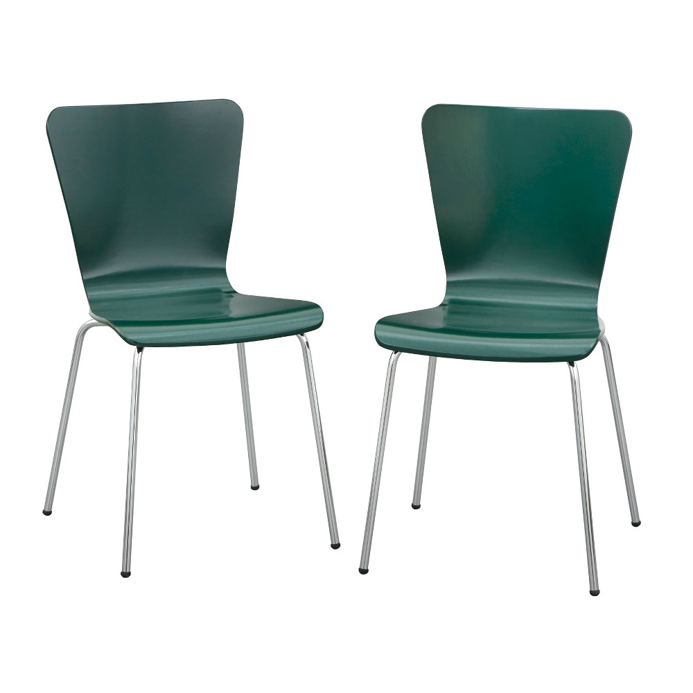 Set Of 2 Pisa Bentwood Chairs Dark Green Buylateral