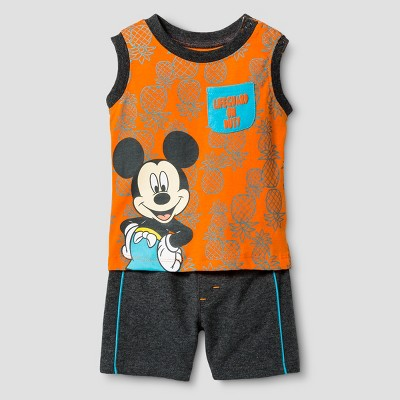 Baby Boys' Mickey Mouse Lifeguard Muscle T-Shirt & Shorts Set - Orange 3-6M