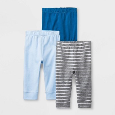 Baby Boys' 'King of the Crib' 3pk Pants - Cloud Island™ Blue/Gray 3-6M