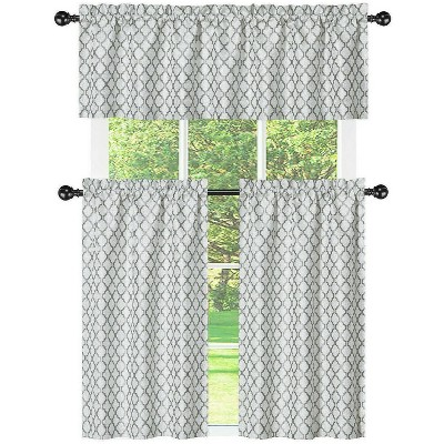 Kate Aurora White & Gray Moroccan Geometric Kitchen Curtain Tier & Valance Set - 56 in. W x 36 in. L