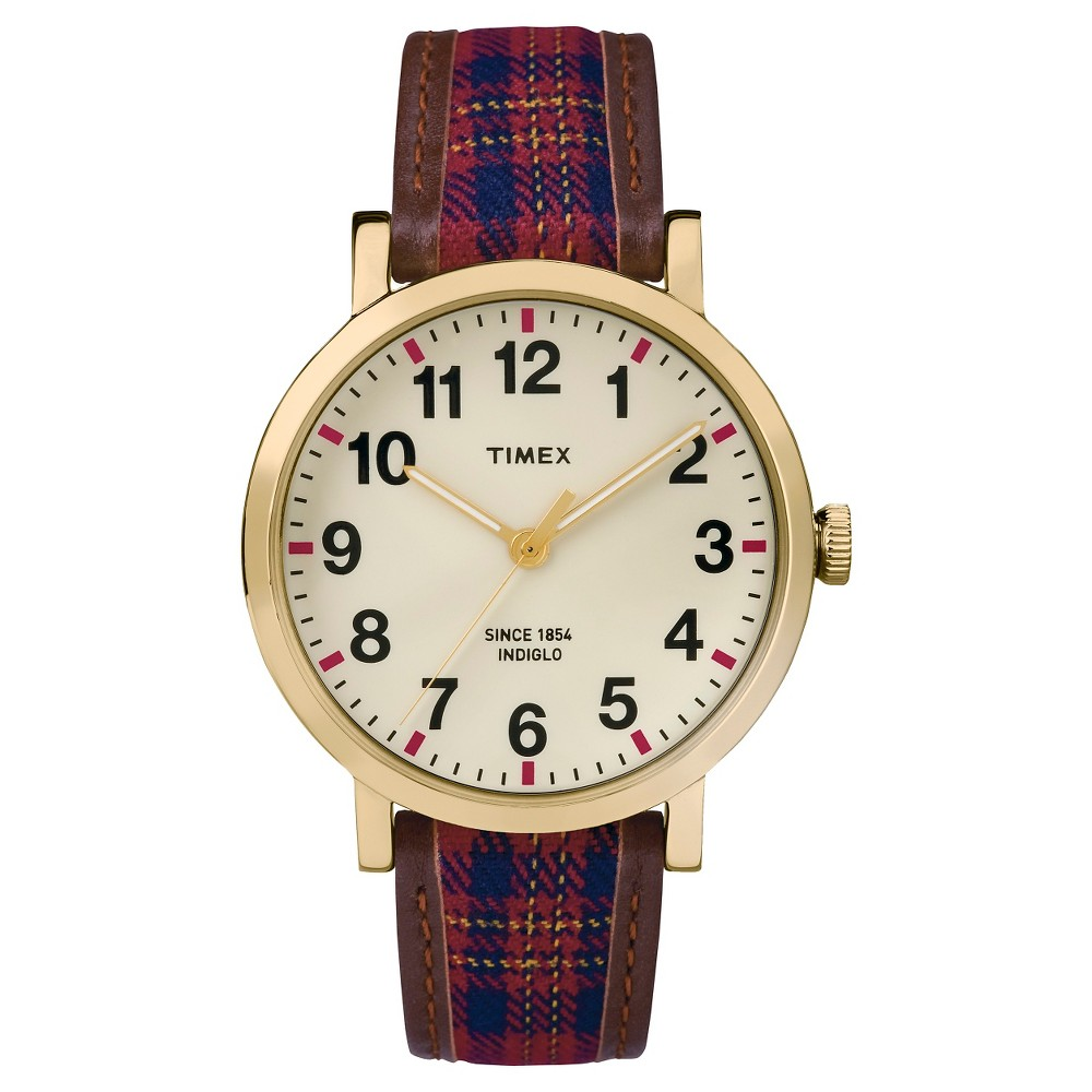 Timex Originals Watch with Plaid Strap - Gold/Red TW2P696002B, Women's, Multi-Colored