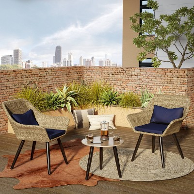 3pc Outdoor Conversation Set with Cushions - Brown - TK Classics
