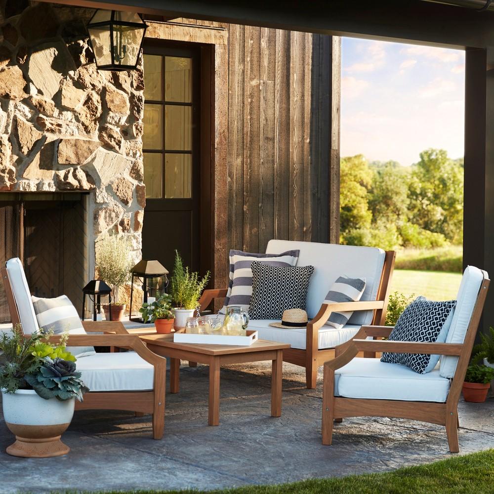 Chesapeake 4pc Wood Patio Conversation Set - Linen - Threshold