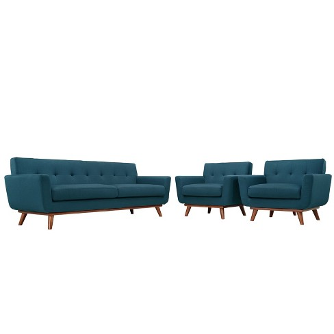 Engage Armchairs and Sofa Set of 3 Azure - Modway - image 1 of 6
