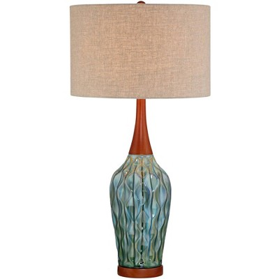 360 Lighting Mid Century Modern Table Lamp Ceramic Blue Teal Glaze Wood Handmade Linen Drum Shade for Living Room Family Bedroom