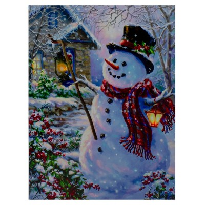 "Northlight 15.75"" Lighted Snowman with Lantern Christmas Wall Art Decor"