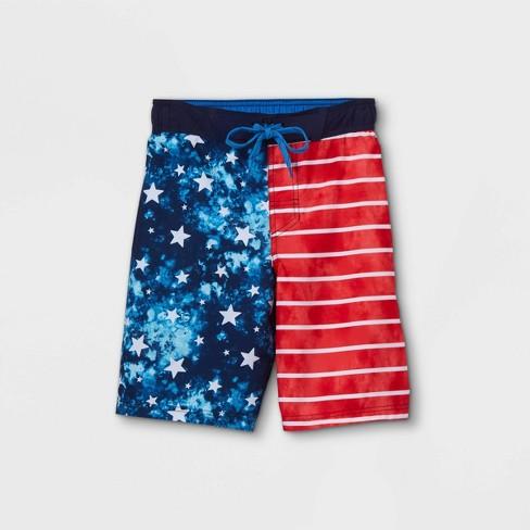 Boys' American Flag Tie-Dye Swim Trunks - Cat & Jack™ Blue - image 1 of 2