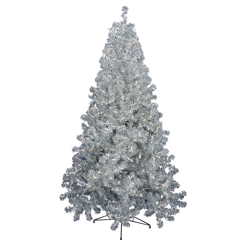 7ft Pre - Lit Artificial Christmas Tree Silver - Clear Lights