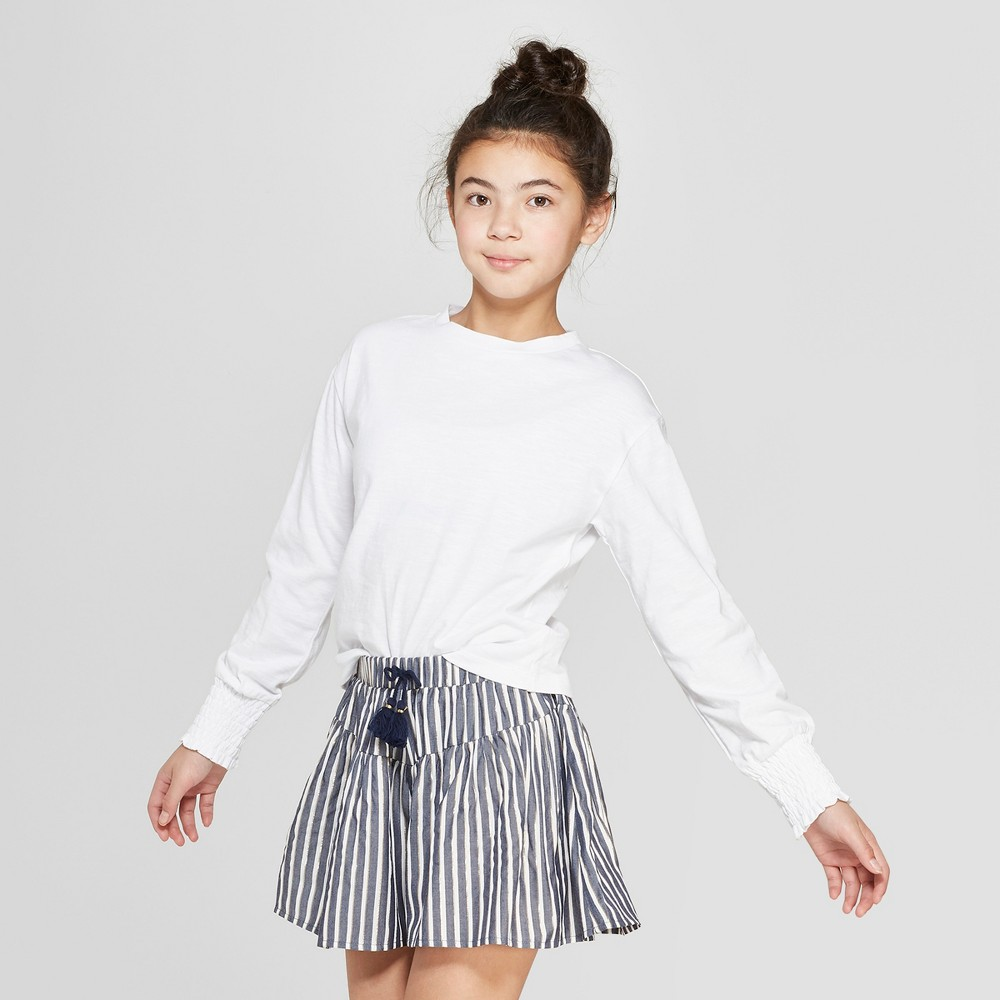 Girls' Long Sleeve Smocked Sleeve Top - art class Gray L, White