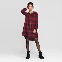 Women's Plaid Long Sleeve Split Neck Midi Shift Dress With Smocking Detail - Knox Rose™ Red