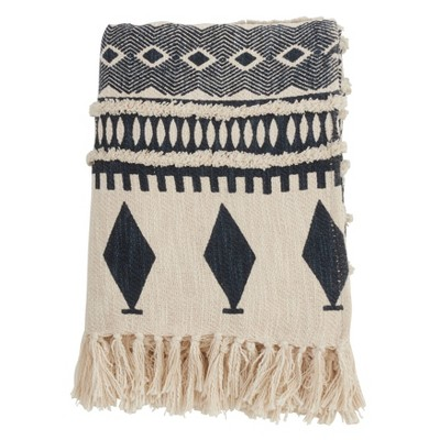 "50""x60"" Printed and Embellished Throw Blanket Navy - Saro Lifestyle"
