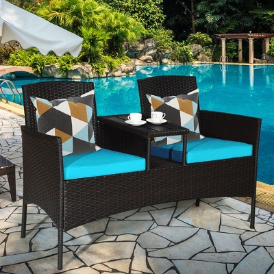 Costway Patio Rattan Conversation Set Loveseat Sofa Cushioned Coffee Table Turquois\Red