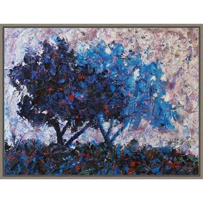 "24"" x 18"" Trees by Joseph Marshal Foster Framed Canvas Wall Art Blue - Amanti Art"