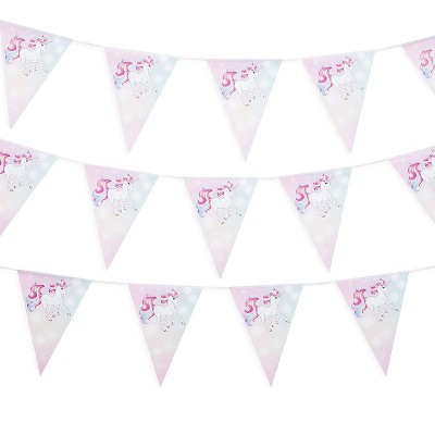 3-Pack Rainbow Unicorn Party Banner, Bunting Pennant Flag Garland for Kids Birthday Supplies, Girl Baby Shower Decoration, 11 feet, 12 Flags Each